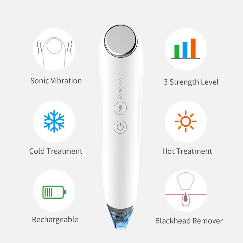 SUNMAS hot cold face massager vibrating women sonic handled electric facial massager machine multiple rechargeable 4-in-1 blackhead remover vacuum